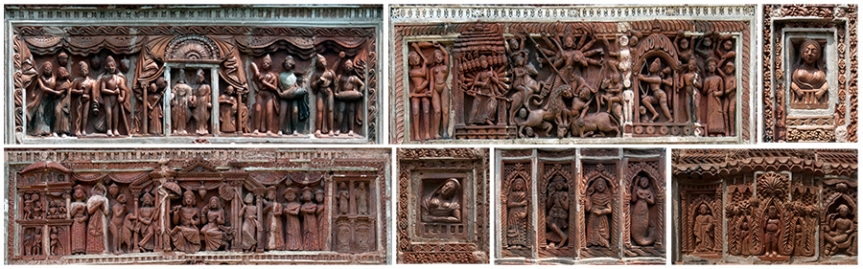 Collage of Terracotta Panels from the Pratapeswar Temple, Ambika Kalna