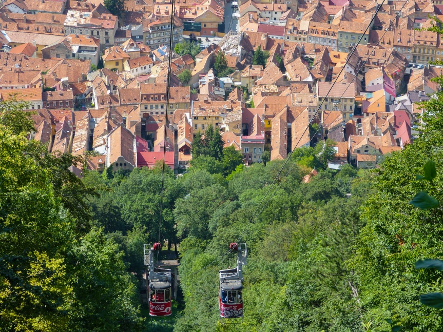 Looking down on Brasov from atop of Mount Tampa